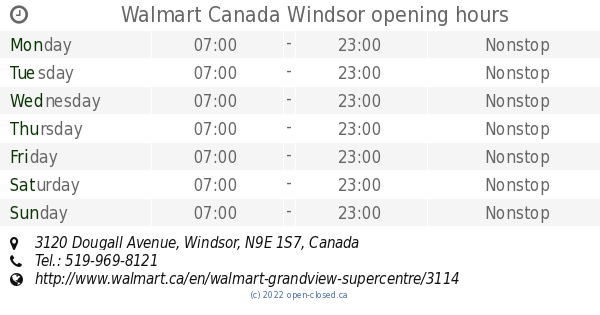 Walmart Canada Windsor opening hours, 3120 Dougall Avenue