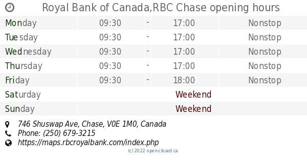 RBC Chase hours, 746 Shuswap Ave