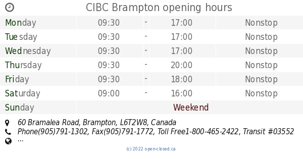 CIBC Brampton Opening Hours 60 Bramalea Road
