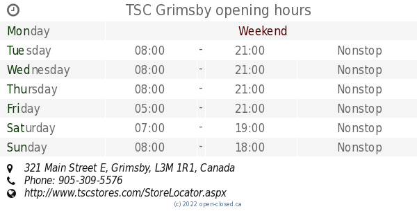 TSC Grimsby opening hours, 321 Main Street E