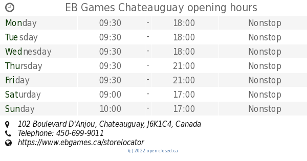 Eb games chateauguay hours