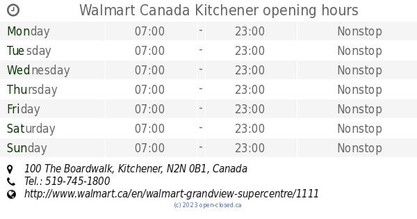 Walmart Canada Kitchener opening hours, 100 The Boardwalk