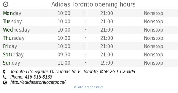 El horario de apertura Adidas de Adidas apertura Toronto, Toronto Life Square 10 Dundas e 672893