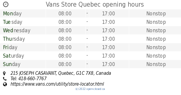 3912bc1266 Vans Store Quebec opening hours