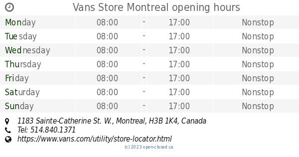 Vans Store Montreal opening hours, 1183