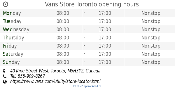 5a1583d6f5 Vans Store Toronto opening hours