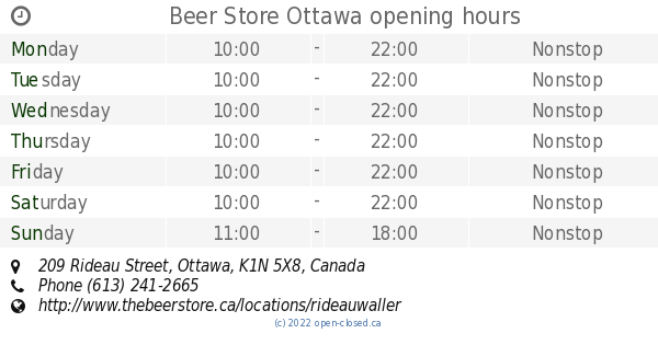 Beer Store Ottawa opening hours, 209 Rideau Street