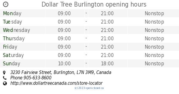 dollar tree burlington opening hours, 3230 fairview street