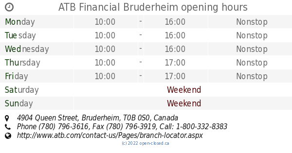 ATB Financial Bruderheim opening hours, 4904 Queen Street