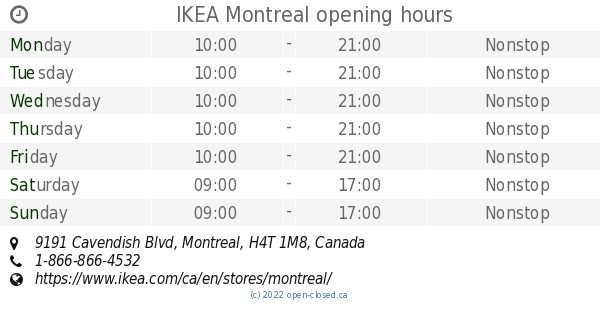 ikea montreal opening hours 9191 cavendish blvd. Black Bedroom Furniture Sets. Home Design Ideas