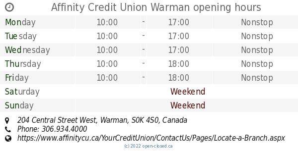 Affinity Credit Union >> Affinity Credit Union Warman opening hours, 204 Central Street West