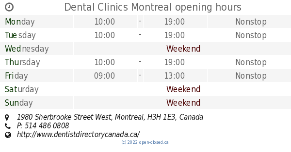Dental Clinics Montreal Opening Hours 1980 Sherbrooke Street West