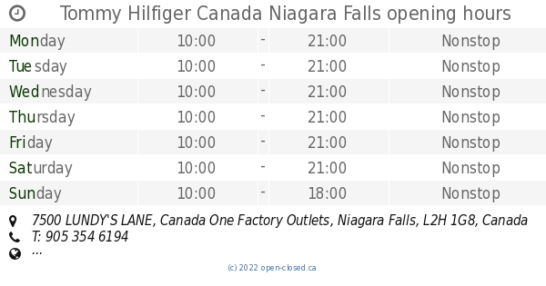 1eacc867 Tommy Hilfiger Canada Niagara Falls opening hours, 7500 LUNDY'S LANE,  Canada One Factory Outlets
